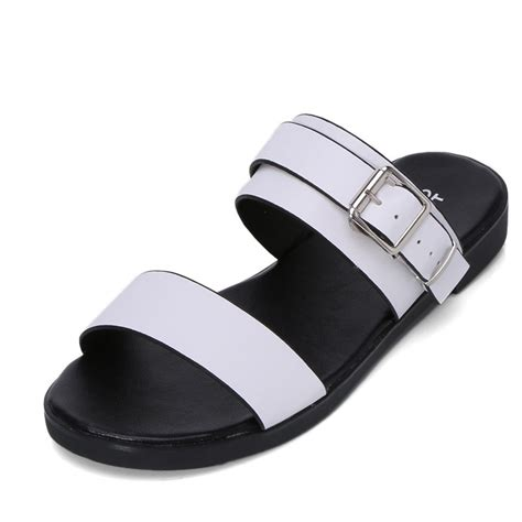 black and white flat shoes for 2016 slides sandals brand leather