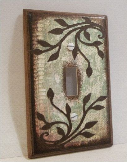 Decoupage Light Switch Covers - decoupaged light switch plate cover green lace and vines