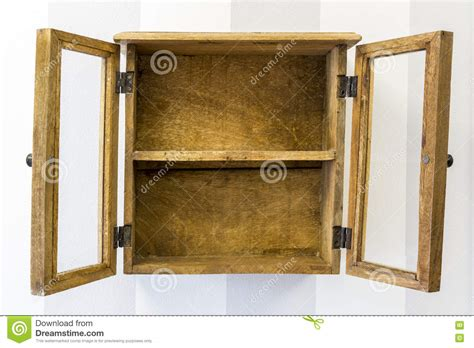 Empty Rustic Wall Mounted Display Cabinet Horizontal