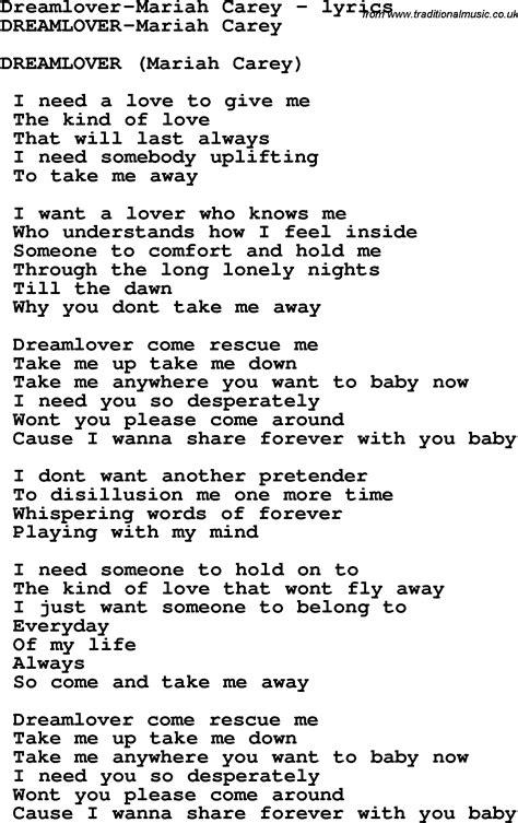 lyrics carey song lyrics for dreamlover carey
