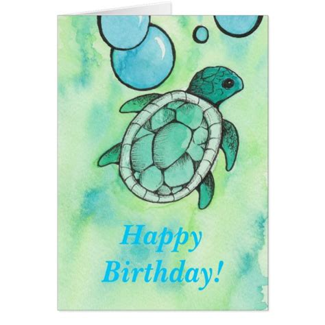 Turtle Thank You Card Template by Turtle Birthday Card Zazzle