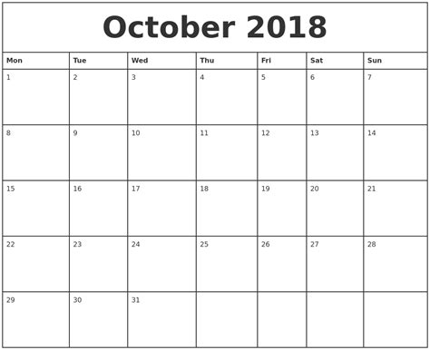 printable calendar 2018 monthly october 2018 printable monthly calendar