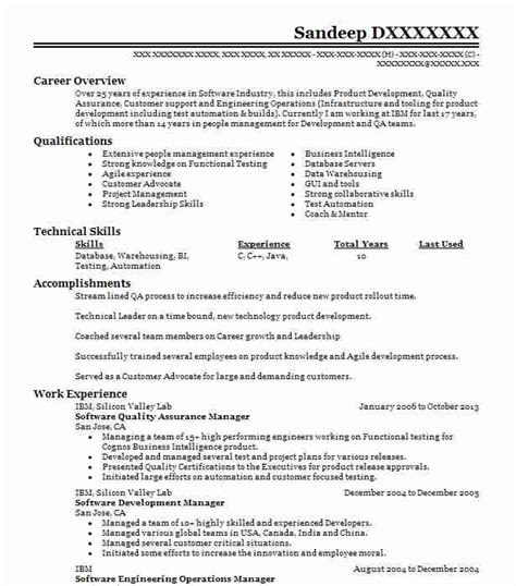 quality assurance test lead resume 28 images quality