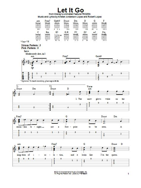 tutorial guitar let it go let it go from frozen sheet music by idina menzel easy
