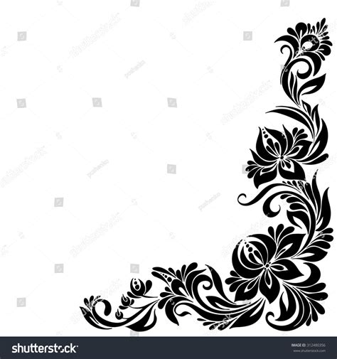 pattern frame corner vector black and white pattern with flowers an ethnic
