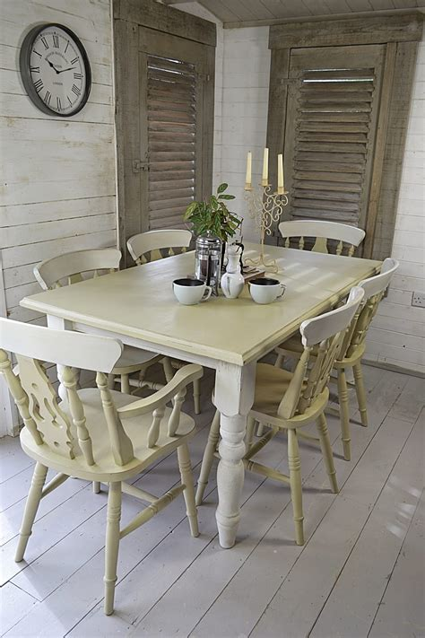 6 seater shabby chic farmhouse dining set by the treasure