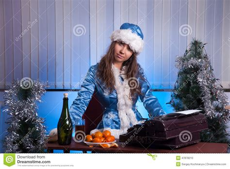snow office snow maiden in the office stock photo image 47878210