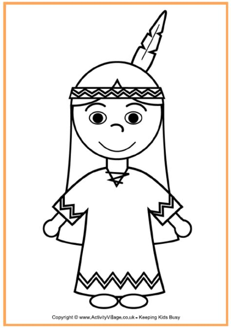 native american girl coloring page thanksgiving coloring
