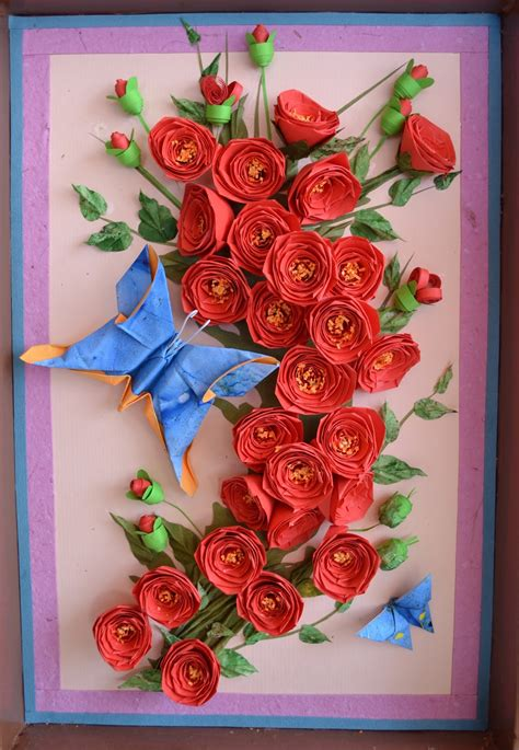 Paper Quilling Roses - paper quilling wall crafts and arts ideas