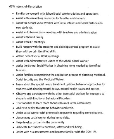 Social Workers Duties And Responsibilities by Social Work Intern Description Sle 6 Exles In Word Pdf
