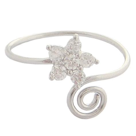 sterling silver cz plumeria flower toe ring from hawaii