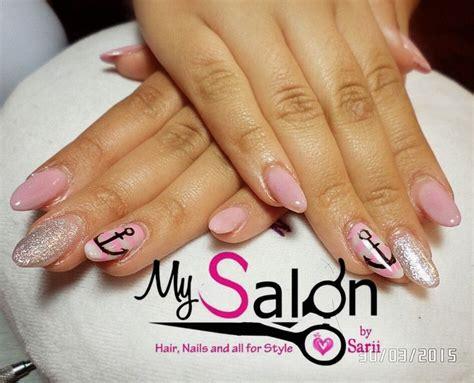 imagenes de uñas acrilicas rosa pastel 150 u 241 as acr 237 licas punta ovalada rosa pastel plata