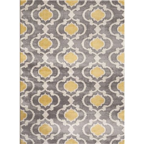 Yellow And Gray Area Rug World Rug Gallery Moroccan Trellis Contemporary Gray Yellow 7 Ft 10 In X 10 Ft 2 In Indoor