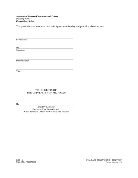 Letter Of Agreement Between Owner And Contractor agreement between contractor and owner free