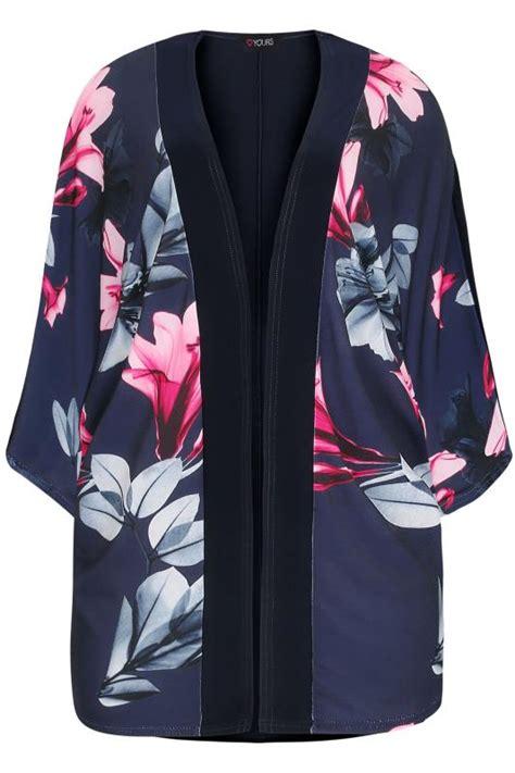A492 Shirt navy pink floral print slinky kimono plus size 16 to 36