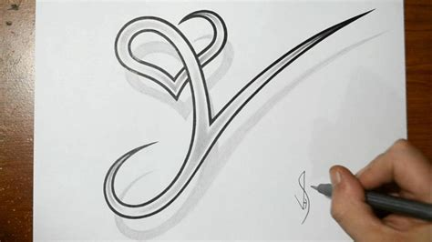 drawing letter   heart combined cool tattoo design