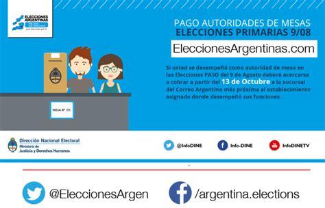 pago a las autoridades de mesa de las elecciones