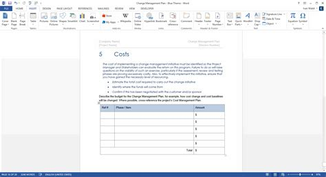 change page template change management plan ms word excel templates