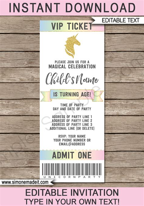 Unicorn Party Ticket Invitations Template Unicorn Theme Ticket Invite Ticket Invitation Template