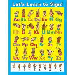 let s learn to sign asl poster classroom alphabet