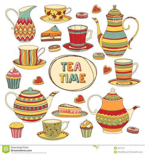 a for all time tea set tea time stock vector image 52511717