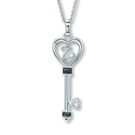 open hearts key necklace 1 15 ct tw diamonds