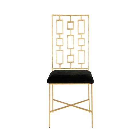 Black And Gold Dining Chairs by Worlds Away Gold Leaf Dining Chair With Black Velvet Seat