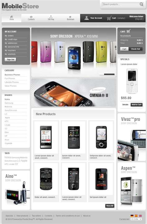 presta shop templates prestashop template demo sle