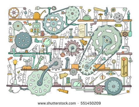 how to create mechanism in doodle sketch teamwork gears production doodle stock
