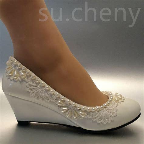 1 inch wedge dress shoes su cheny 2 wedge lace pearls white light ivory wedding bridal shoes size 5 10 5 ebay