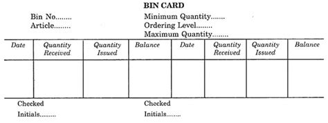 Specimen Of Bin Card
