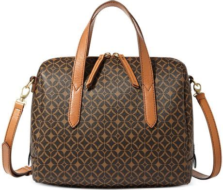 Fossil Womens Dawson Satchel Printed Faux Multi Colour Leather 2in1 H fossil sydney satchel in brown multi brown lyst