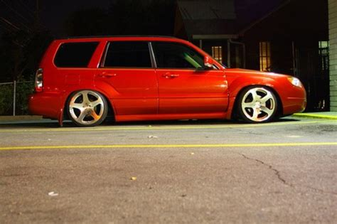 lowered subaru forester subaru forester lowered slammed fresh lightning red