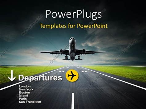 Powerpoint Template An Airplane Taking Off From The Runway 9254 Powerpoint Templates Airline Industry