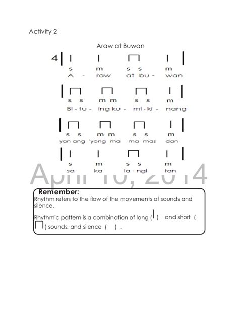 rhythmic pattern activities k to 12 grade 3 learning material in music