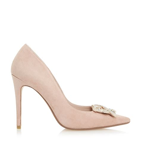 dune breanna brooch pointed toe court shoes in gray lyst