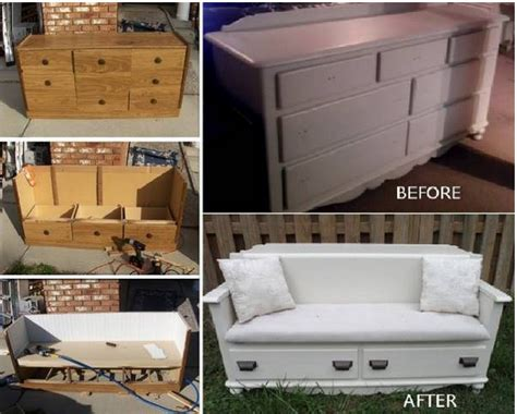 turn a dresser into a bench wonderful diy upcycled dresser bench