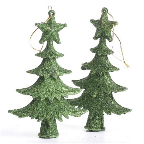 green glittered christmas tree ornaments christmas