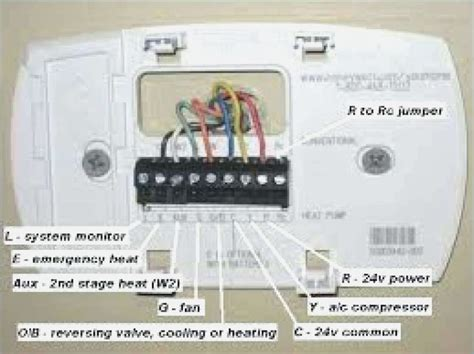 thermostat color code honeywell heat thermostat wiring diagram