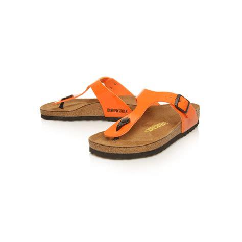 orange sandals shoes birkenstock gizeh sandals in orange lyst