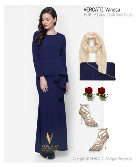 Baju Raya Warna Navy Blue quot baju kurung moden terkini 2016 quot by vercato on polyvore featuring ruffle peplum jubah maxi dress