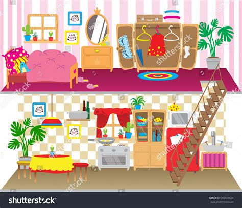 cartoon doll house dolls house floors interior children playing stock vector