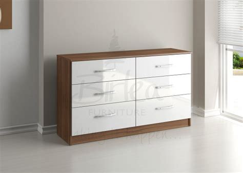 walnut and white gloss bedroom furniture birlea lynx walnut with white gloss 6 drawer wide chest of