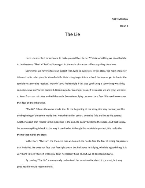 Lying Argumentative Essay by The Lie Essay