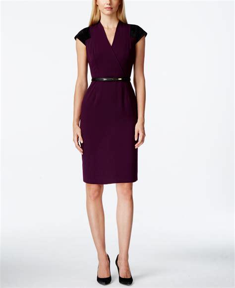 calvin klein cap sleeve belted sheath dress in purple lyst