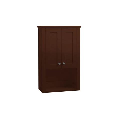 Cherry Bathroom Storage Cabinet Ronbow Essentials Shaker 19 In W X 30 In H X 8 1 2 In D The Toilet Bathroom Storage Wall