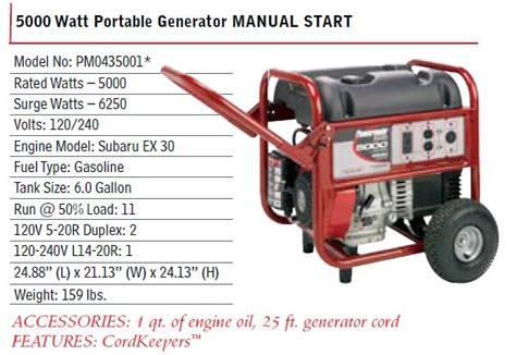 powermate 5000 watt generator 10hp subaru pm0435001
