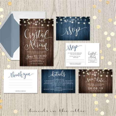 rustic wedding invitation set printable stationery in the attic