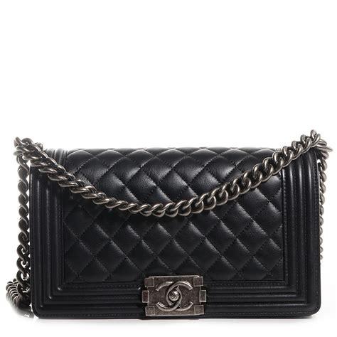 Chanel Calfskin Logo Flap Bag by Chanel Metallic Calfskin Quilted Medium Boy Flap Black 84797