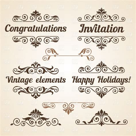 design elements vector vintage curly vintage design elements with text royalty free